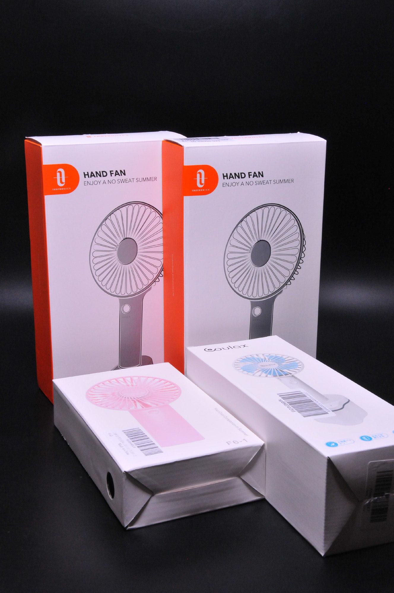 2019年 女子学生流行の携帯扇風機を数点購入して見る。