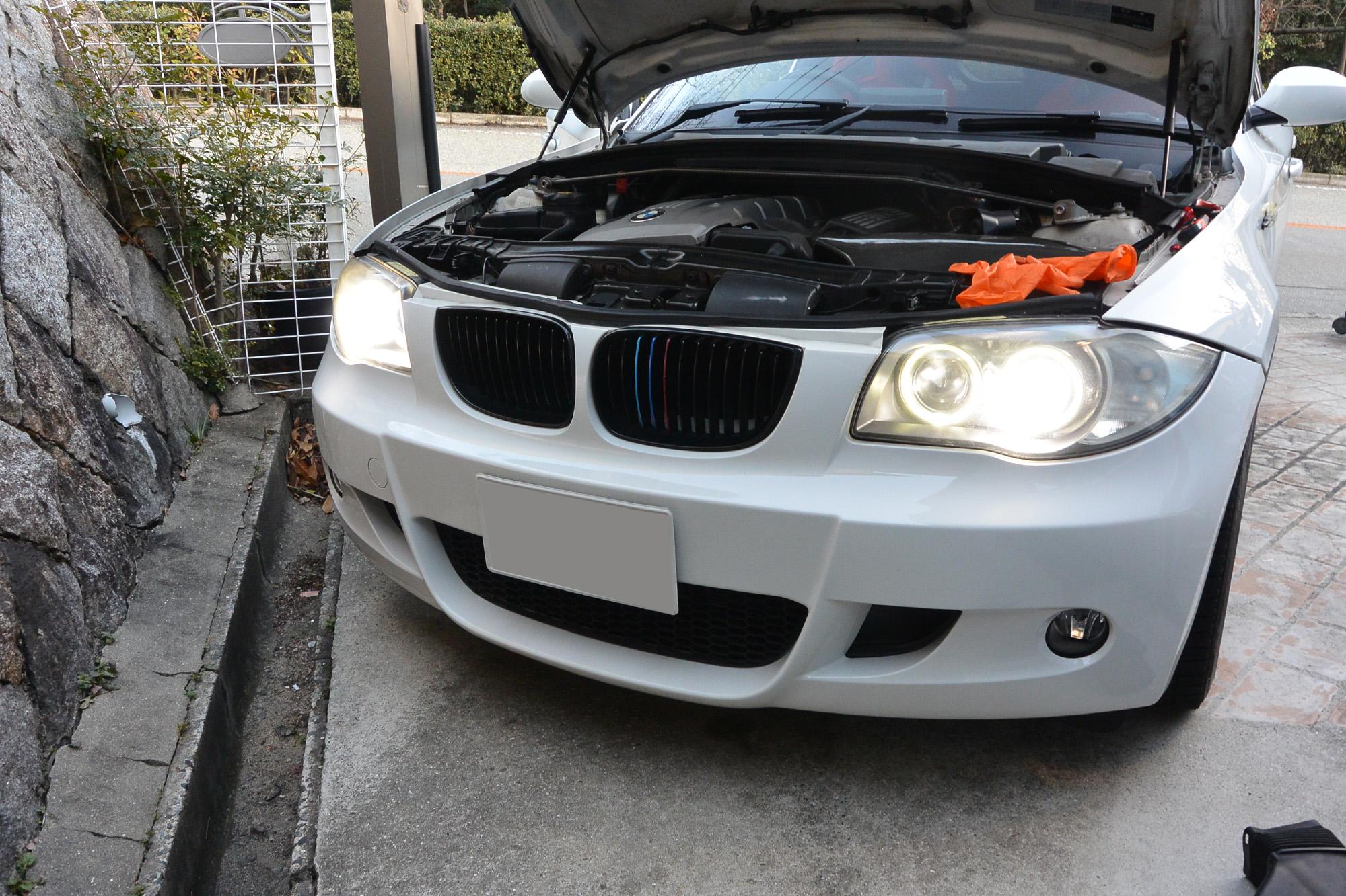 BMW 130i E87 車検準備 LEDからHIDに戻す。 レカロ装備エアバックのエラーを見直す。 C110+で消す
