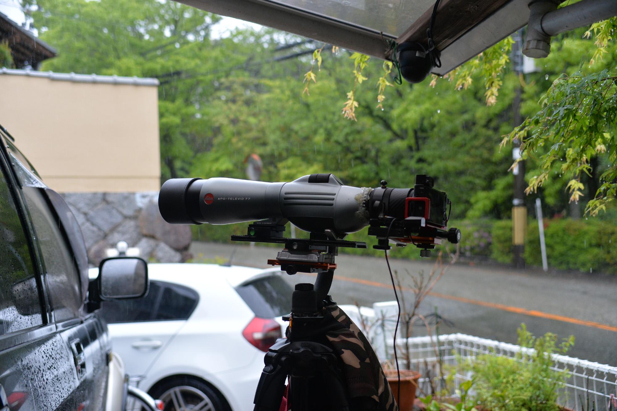 雨ですがデジスコのテスト撮影 APO-TELEVUD 77 + RX100M3 残念な結果!とまさかのiPhoneが…