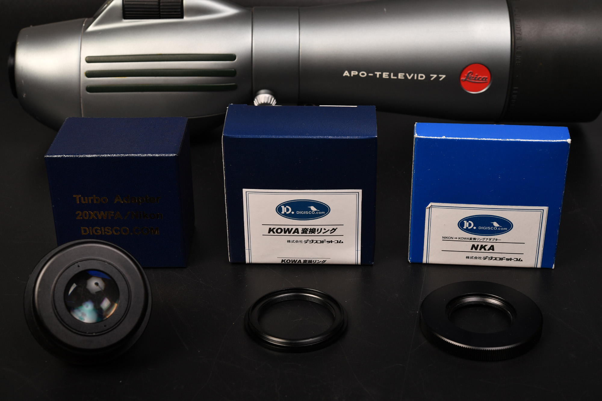 Leica APO-TELEVID 77にNikon用接眼レンズ KOWA変換リング+NKA