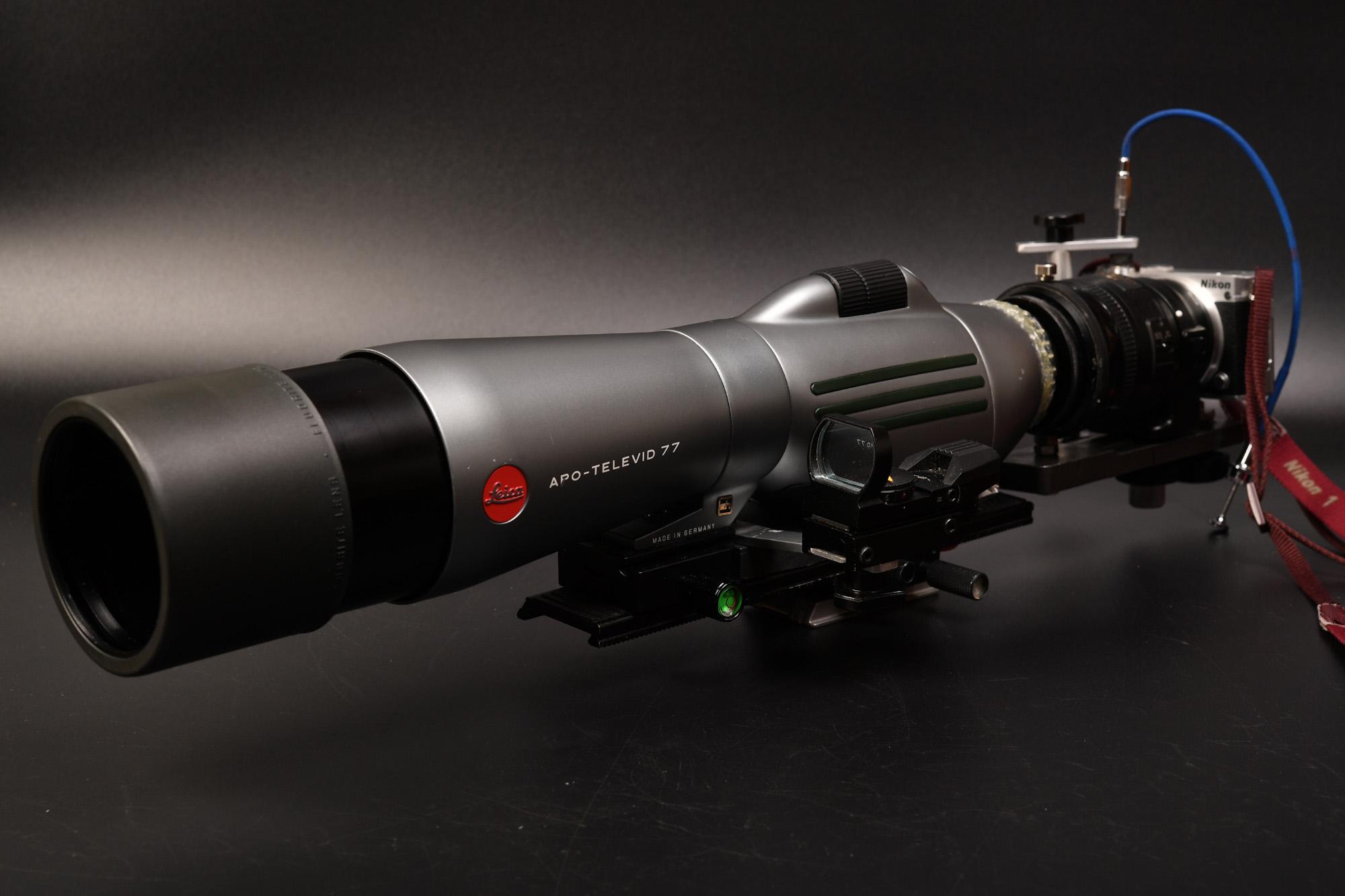 Leica APO-TELEVID 77にNikon用接眼レンズ(自作マウント) 何処までピントが合うか実験